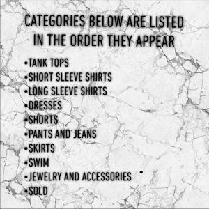 Categories of Items Available!